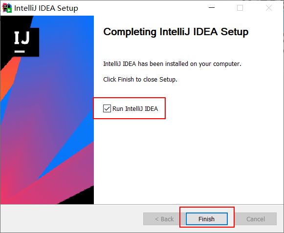5、 安装完成后,勾选 Run IntelliJ IDEA,点击 finish 运行软件:
